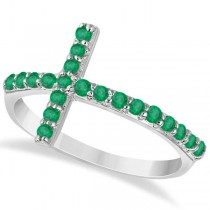 Modern Sideways Emerald Cross Fashion Ring in 14k White Gold (0.42ct)