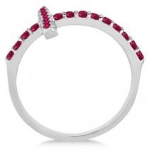 Modern Sideways Ruby Cross Fashion Ring in 14k White Gold (0.42ct)