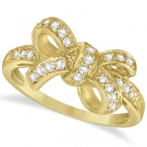 Pave Set Diamond Bow Tie Fashion Ring in 14k Yellow Gold (0.26 ct)