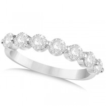 Shared Prong Round Shape Diamond Anniversary Ring 14k White Gold 1.25ct