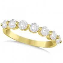 Shared Prong, Round Diamond Anniversary Ring 14k Yellow Gold 1.25ct