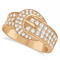 Diamond Belt Buckle Ring 14k Rose Gold (1.01ct)