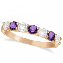 Diamond & Amethyst 7 Stone Wedding Band 14k Rose Gold (1.00ct)