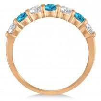 Blue & White Diamond 7 Stone Wedding Band 14k Rose Gold (1.00ct)