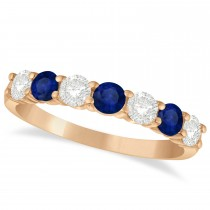 Diamond & Blue Sapphire 7 Stone Wedding Band 14k Rose Gold (1.00ct)