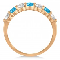 Diamond & Blue Topaz 7 Stone Wedding Band 14k Rose Gold (1.00ct)