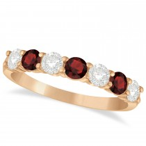 Diamond & Garnet 7 Stone Wedding Band 14k Rose Gold (1.00ct)