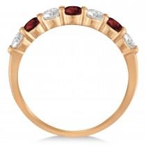 Diamond & Garnet 7 Stone Wedding Band 14k Rose Gold (1.00ct)