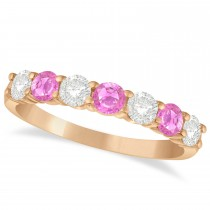 Diamond & Pink Sapphire 7 Stone Wedding Band 14k Rose Gold (1.00ct)