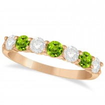 Diamond & Peridot 7 Stone Wedding Band 14k Rose Gold (1.00ct)