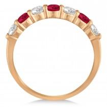 Diamond & Ruby 7 Stone Wedding Band 14k Rose Gold (1.00ct)