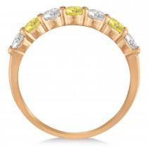 White & Yellow Diamond 7 Stone Wedding Band 14k Rose Gold (1.00ct)