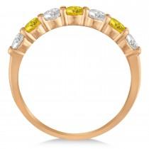 Diamond & Yellow Sapphire 7 Stone Wedding Band 14k Rose Gold (1.00ct)