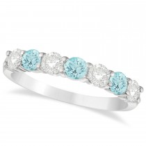 Diamond & Aquamarine 7 Stone Wedding Band 14k White Gold (1.00ct)