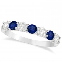 Diamond & Blue Sapphire 7 Stone Wedding Band 14k White Gold (1.00ct)