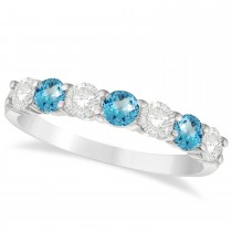 Diamond & Blue Topaz 7 Stone Wedding Band 14k White Gold (1.00ct)