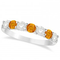 Diamond & Citrine 7 Stone Wedding Band 14k White Gold (1.00ct)