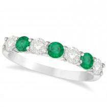 Diamond & Emerald 7 Stone Wedding Band 14k White Gold (1.00ct)