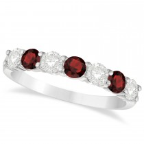 Diamond & Garnet 7 Stone Wedding Band 14k White Gold (1.00ct)
