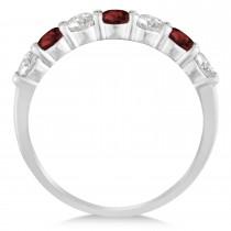 Diamond & Garnet 7 Stone Wedding Band 14k White Gold (1.00ct)