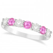 Diamond & Pink Sapphire 7 Stone Wedding Band 14k White Gold (1.00ct)