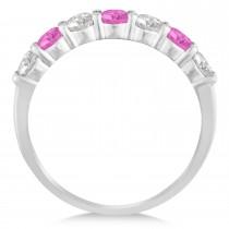 Diamond & Pink Sapphire 7 Stone Wedding Band 14k White Gold (1.00ct)