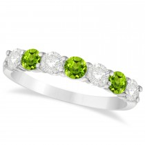 Diamond & Peridot 7 Stone Wedding Band 14k White Gold (1.00ct)