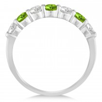 Diamond & Peridot 7 Stone Wedding Band 14k White Gold (1.00ct)|escape