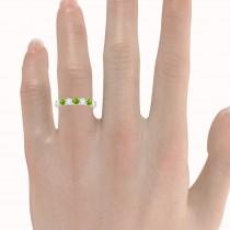 Diamond & Peridot 7 Stone Wedding Band 14k White Gold (1.00ct)