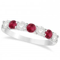 Diamond & Ruby 7 Stone Wedding Band 14k White Gold (1.00ct)