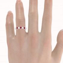 Diamond & Ruby 7 Stone Wedding Band 14k White Gold (1.00ct)