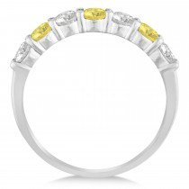 White & Yellow Diamond 7 Stone Wedding Band 14k White Gold (1.00ct)