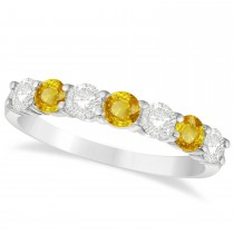 Diamond & Yellow Sapphire 7 Stone Wedding Band 14k White Gold (1.00ct)