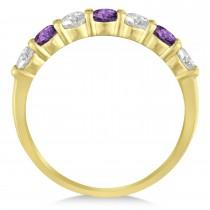 Diamond & Amethyst 7 Stone Wedding Band 14k Yellow Gold (1.00ct)