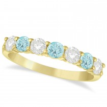 Diamond & Aquamarine 7 Stone Wedding Band 14k Yellow Gold (1.00ct)