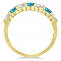 Blue & White Diamond 7 Stone Wedding Band 14k Yellow Gold (1.00ct)