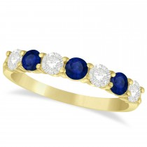 Diamond & Blue Sapphire 7 Stone Wedding Band 14k Yellow Gold (1.00ct)