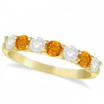 Diamond & Citrine 7 Stone Wedding Band 14k Yellow Gold (1.00ct)
