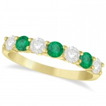 Diamond & Emerald 7 Stone Wedding Band 14k Yellow Gold (1.00ct)