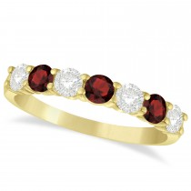 Diamond & Garnet 7 Stone Wedding Band 14k Yellow Gold (1.00ct)