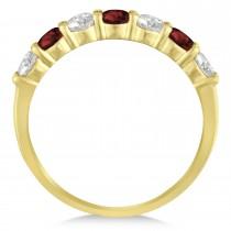 Diamond & Garnet 7 Stone Wedding Band 14k Yellow Gold (1.00ct)
