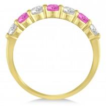 Diamond & Pink Sapphire 7 Stone Wedding Band 14k Yellow Gold (1.00ct)