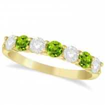 Diamond & Peridot 7 Stone Wedding Band 14k Yellow Gold (1.00ct)