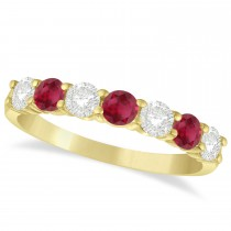 Diamond & Ruby 7 Stone Wedding Band 14k Yellow Gold (1.00ct)