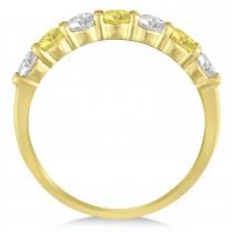 White & Yellow Diamond 7 Stone Wedding Band 14k Yellow Gold (1.00ct)