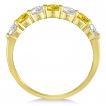 Diamond& Yellow Sapphire 7 Stone Wedding Band 14k Yellow Gold (1.00ct)