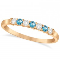Diamond & Blue Topaz 7 Stone Wedding Band 14k Rose Gold (0.26ct)