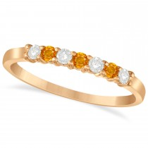 Diamond & Citrine 7 Stone Wedding Band 14k Rose Gold (0.26ct)