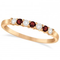 Diamond & Garnet 7 Stone Wedding Band 14k Rose Gold (0.26ct)
