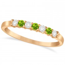 Diamond & Peridot 7 Stone Wedding Band 14k Rose Gold (0.26ct)